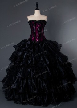 Purple Black Gothic Long Prom Dress D1001