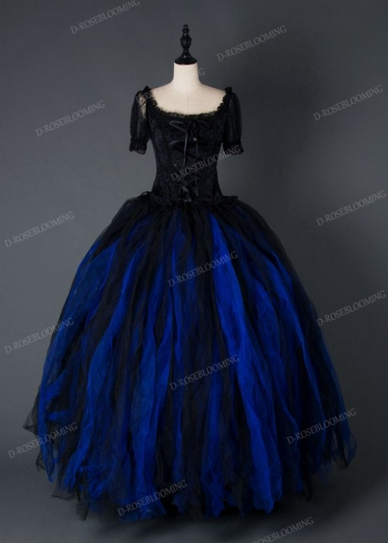 Black Blue Gothic Long Prom Dress D1002