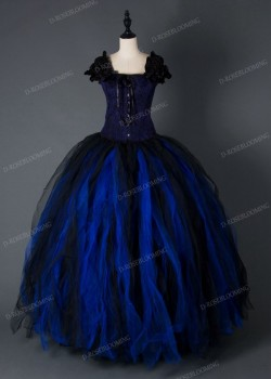 Black Blue Gothic Long Prom Dress D1003