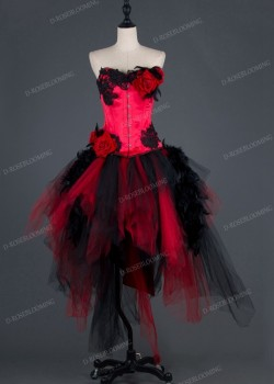 Red Floral Corset Gothic Dress D1005