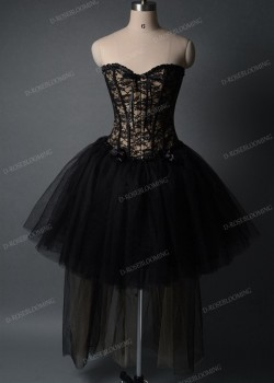 Black Champagne Gothic High-low Prom Dress D1006