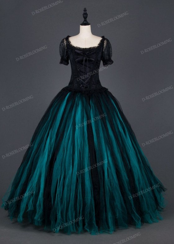 Black Teal Green Gothic Ball Gown Prom Dress D1007