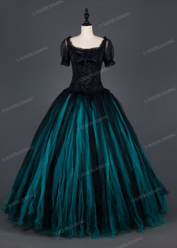 Black Teal Green Gothic Ball Gown Prom Dress D1007 D
