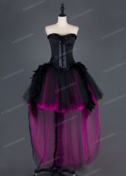 Black Fuchsia Gothic High-low Prom Dress D1010