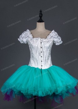 White Turquoise Short Gothic Party Ball Gown Dress D1011