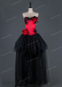 Red Black Gothic High-low Prom Dress D1012