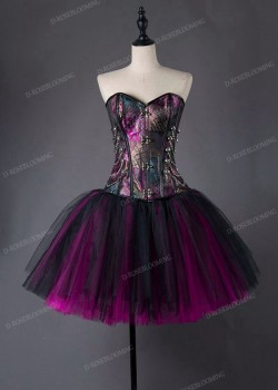 Fuchsia Short Gothic Ball Gown Prom Dress D1013