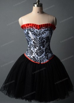 Black White Short Gothic Prom Dress D1015