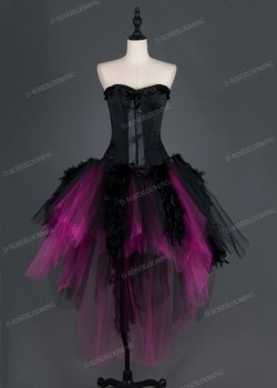 Black Fuchsia Gothic Short Prom Dress D1016