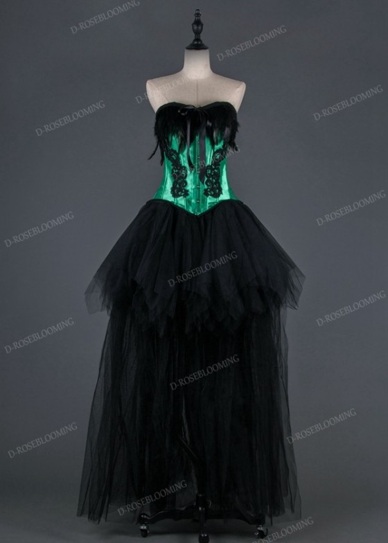 Green Black Gothic High-low Prom Dress D1021