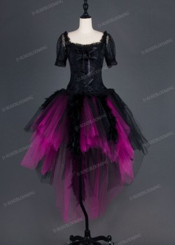 Black Fuchsia Gothic Short Prom Dress D1022
