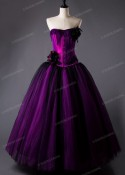 Fuchsia Vintage Gothic Long Prom Dress D1025