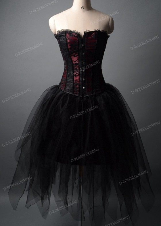 Black Short Gothic Prom Party Dress D1028