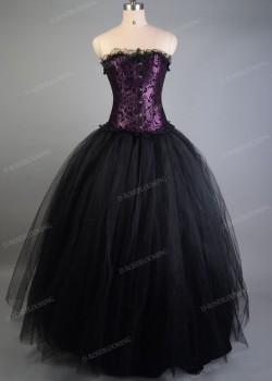 Purple Black Gothic Long Prom Dress D1031