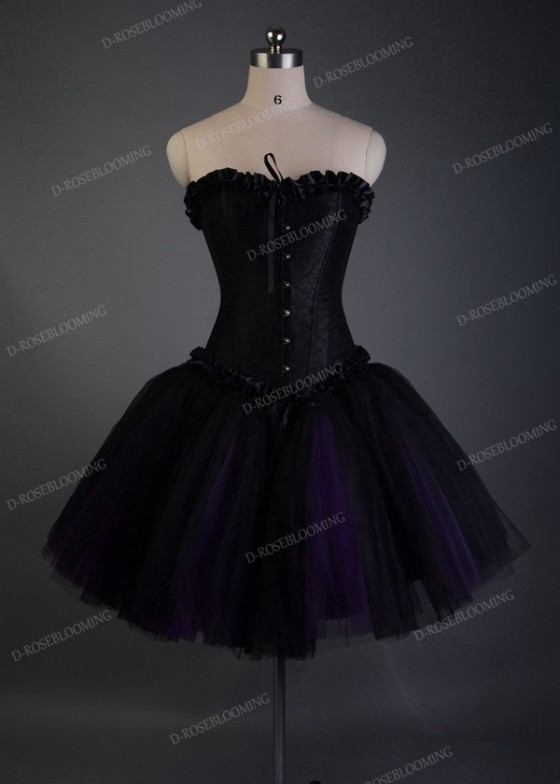 Black Purple Short Gothic Party Dress D1035