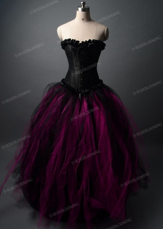 Black Fuchsia Gothic Long Prom Dress D1036