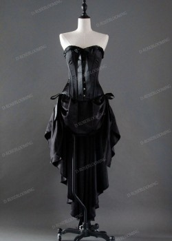 Black High-low Gothic Prom Dress D1037