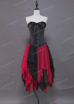 Black Red Short Gothic Party Dress D1040