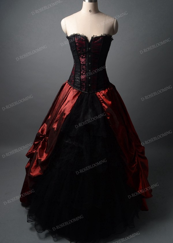 Red Black Long Gothic Prom Dress D1041 - D-RoseBlooming