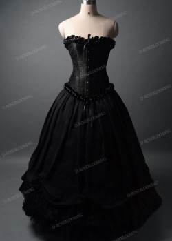 Black Long Ball Gown Prom Dress D1042