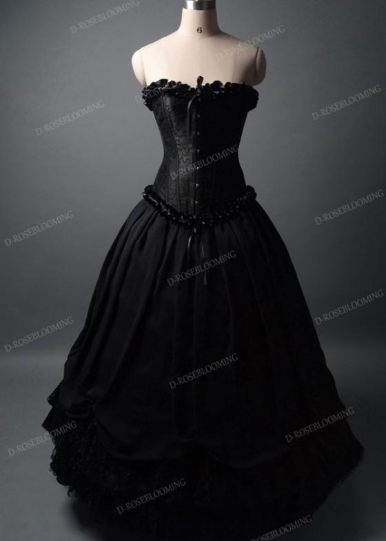 Black Long Ball Gown Prom Dress D1042