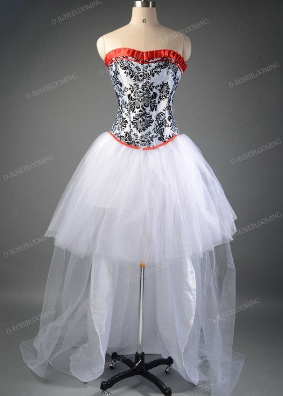 White High-low Gothic Prom Dress D1043