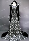 White Black Printed Velvet Medieval Gown D2001