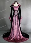 Black Purple Pattern Velvet Medieval Gown D2002