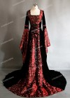 Red Black Medieval Gown with Floral Pattern D2003