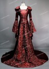 Red Floral Embroidery Medieval Gown D2005