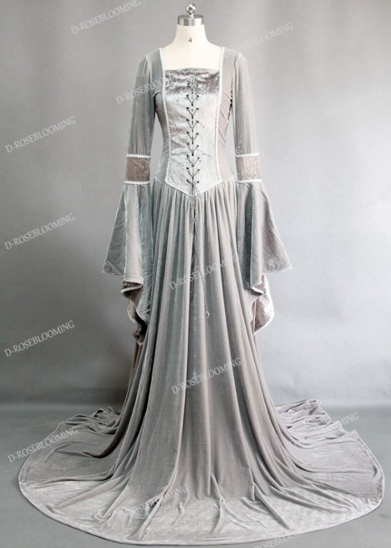 Light Gray Velvet Celtic Medieval Dress D2006