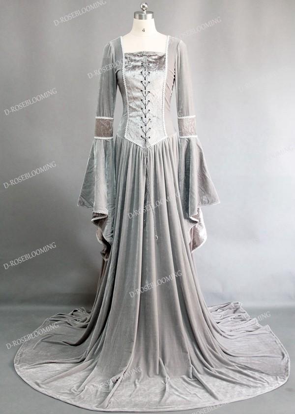 light gray velvet celtic medieval dress d2006 droseblooming