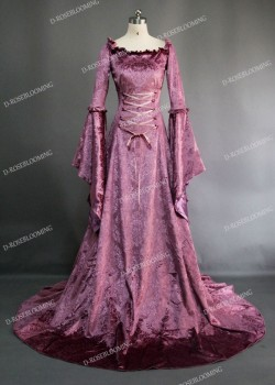 Purple Velvet Medieval Dress D2009