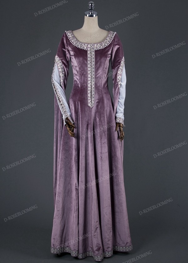 Exquisite Purple Medieval Dress D2011 - D-RoseBlooming