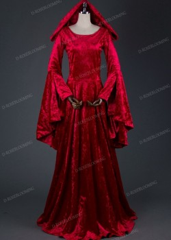 Red Velvet Hooded Medieval Gown D2012