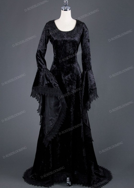 Black Velvet Medieval Gown D2013