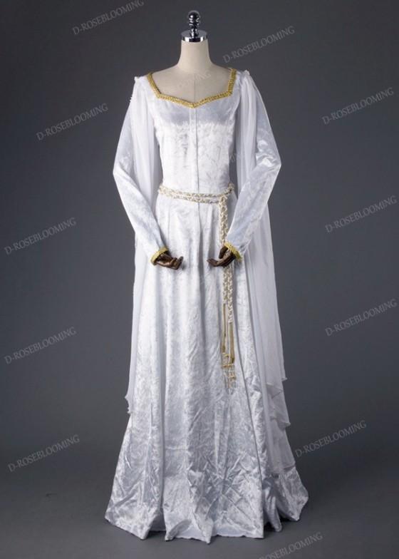 White Vintage Medieval Dress D2014