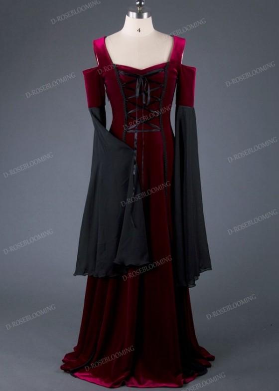 Wine Red Black Off-The-Shoulder Medieval Dress D2015