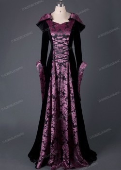 Black Fuchsia Velvet Hooded Medieval Gown D2016