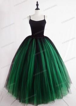 Green Black Gothic Tulle Long Skirt D1S006