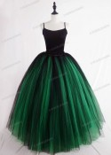 Green Black Gothic Tulle Long Skirt D1S006