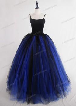 Blue Black Gothic Tulle Long Skirt D1S007