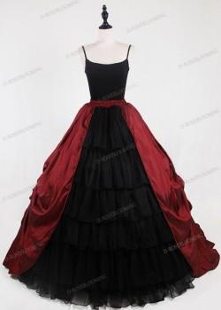 Red Black Gothic Satin Skirt D1S010
