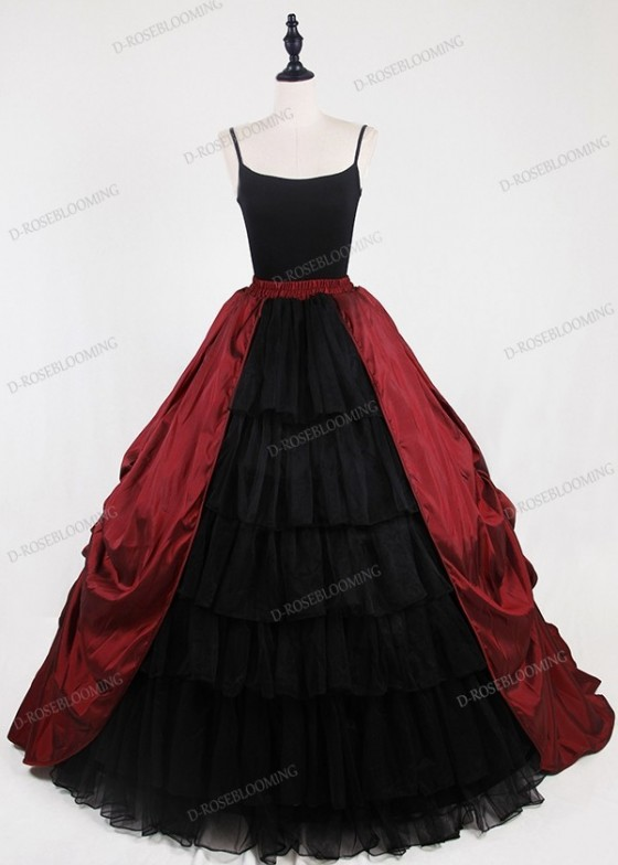 Red Black Gothic Satin Skirt D1S010
