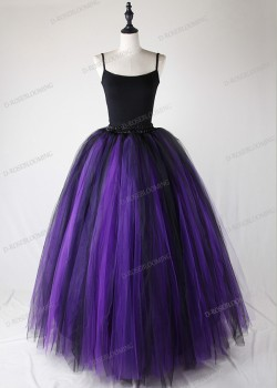 Purple Black Gothic Tulle Long Skirt D1S001