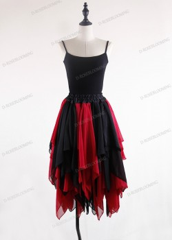 Black Red  Gothic Chiffon Knee Length Skirt D1S002