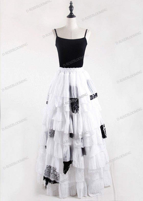 White Black Gothic Chiffon Long Skirt D1S003