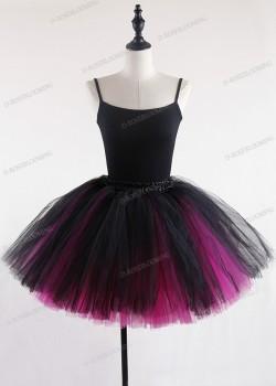 Black Fuchsia Gothic Tulle Short Skirt D1S004