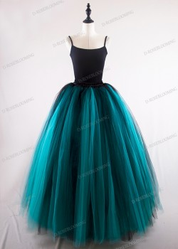 Black Teal Green Gothic Tulle Skirt D1S005