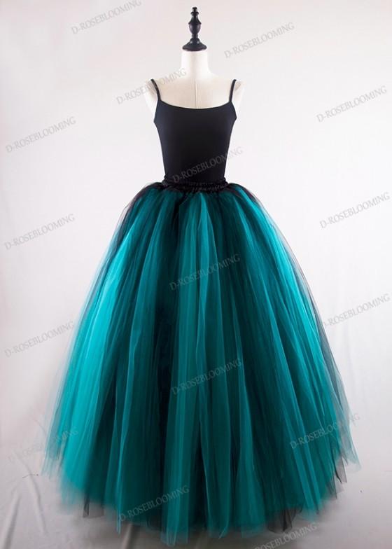 Black Teal Green Gothic Tulle Skirt D1S005